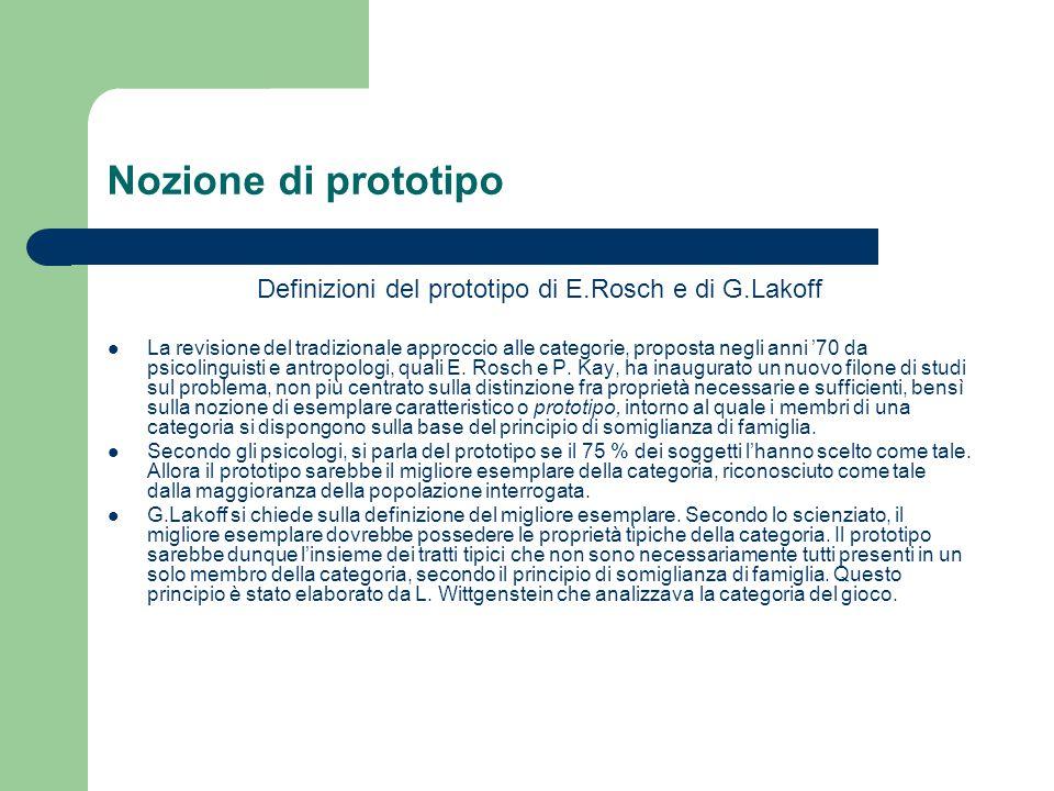 Nozione di prototipo Definizioni del prototipo di E.Rosch e di G.Lakoff La revisione del tradizionale approccio alle categorie, proposta negli anni '7