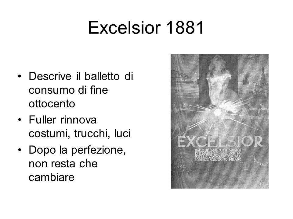Excelsior 1881 Descrive il balletto di consumo di fine ottocento Fuller rinnova costumi, trucchi, luci Dopo la perfezione, non resta che cambiare