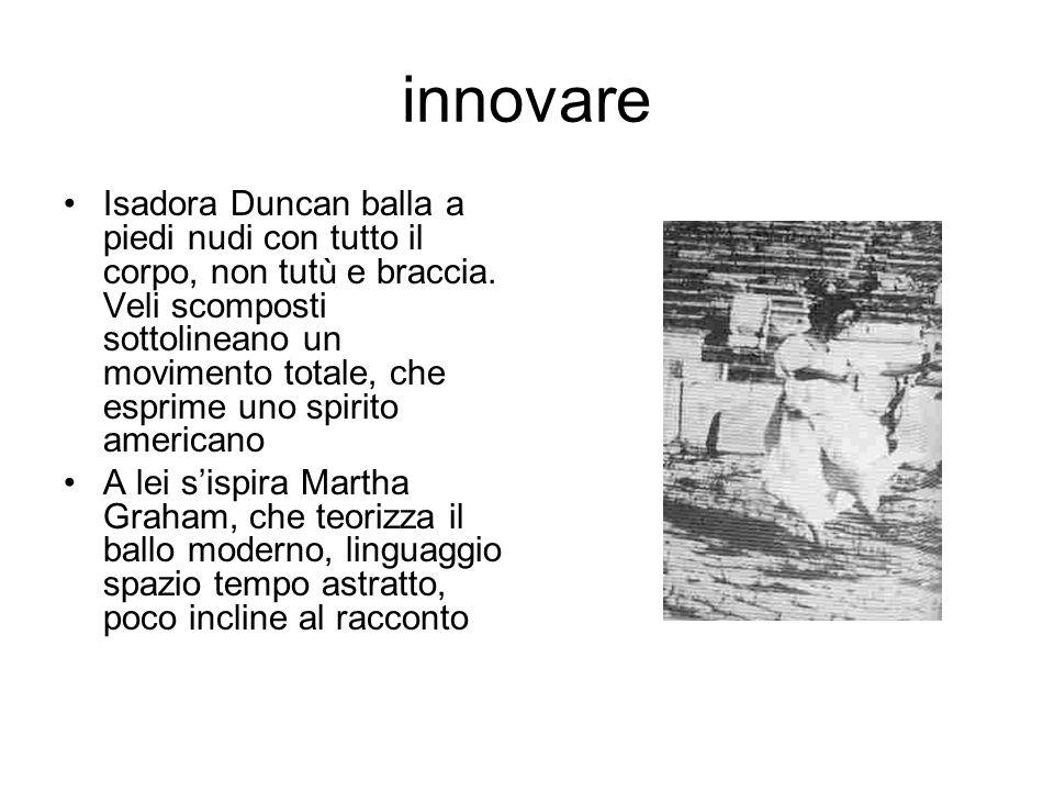 innovare Isadora Duncan balla a piedi nudi con tutto il corpo, non tutù e braccia. Veli scomposti sottolineano un movimento totale, che esprime uno sp