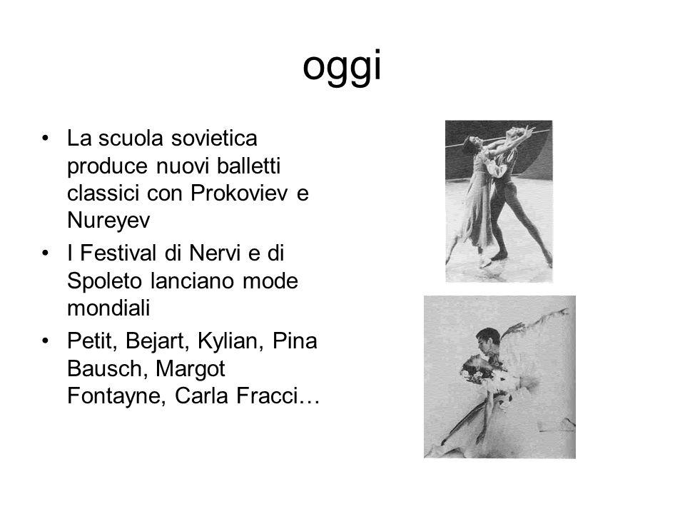 oggi La scuola sovietica produce nuovi balletti classici con Prokoviev e Nureyev I Festival di Nervi e di Spoleto lanciano mode mondiali Petit, Bejart