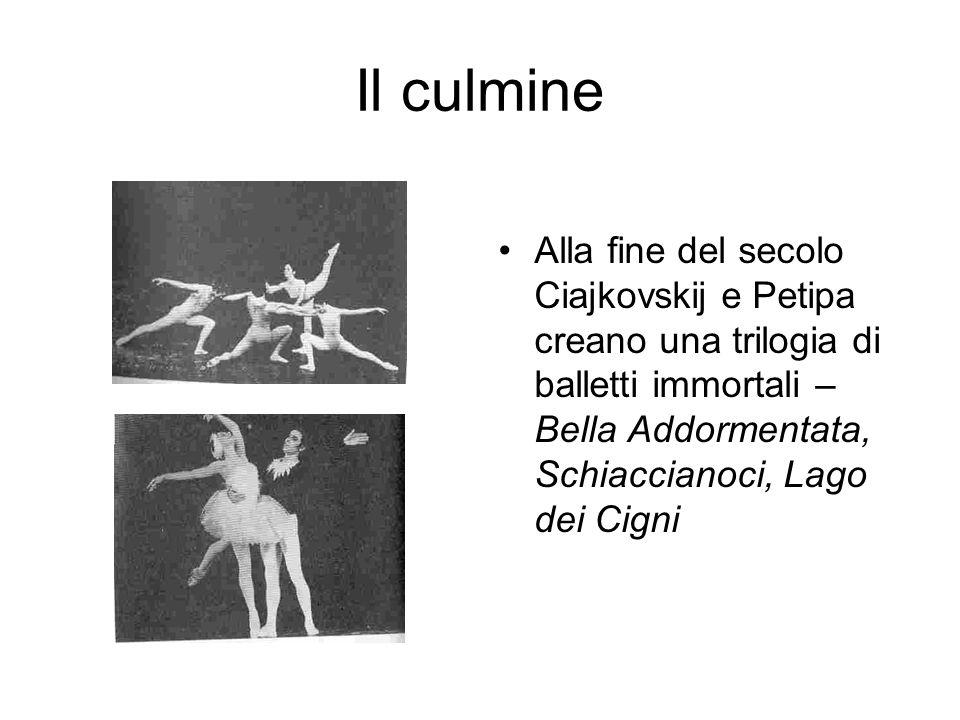 Il culmine Alla fine del secolo Ciajkovskij e Petipa creano una trilogia di balletti immortali – Bella Addormentata, Schiaccianoci, Lago dei Cigni