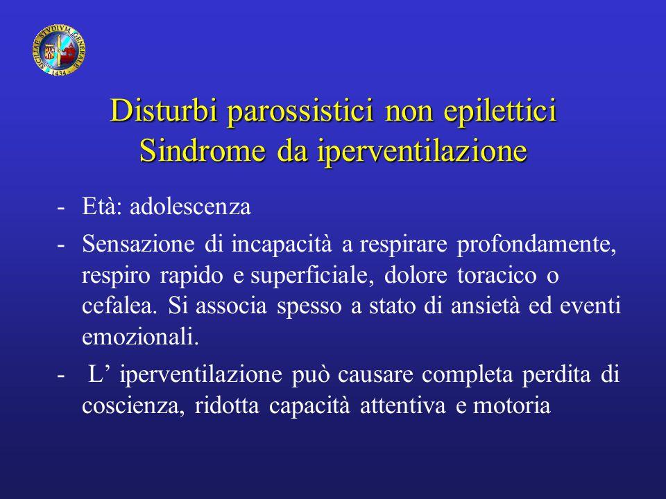 Disturbi parossistici non epilettici Sindrome da iperventilazione -Età: adolescenza -Sensazione di incapacità a respirare profondamente, respiro rapid