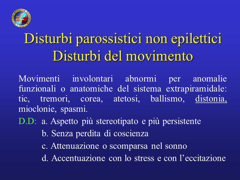 Disturbi parossistici non epilettici Disturbi del movimento Movimenti involontari abnormi per anomalie funzionali o anatomiche del sistema extrapirami