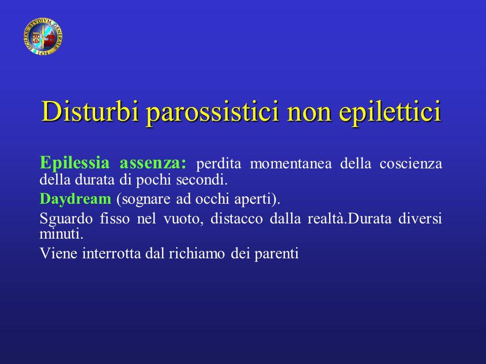 Disturbi parossistici non epilettici Epilessia assenza: perdita momentanea della coscienza della durata di pochi secondi. Daydream (sognare ad occhi a