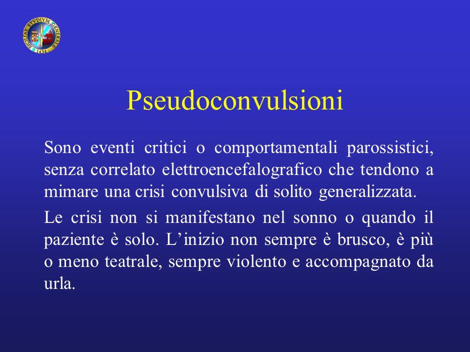 Pseudoconvulsioni Sono eventi critici o comportamentali parossistici, senza correlato elettroencefalografico che tendono a mimare una crisi convulsiva