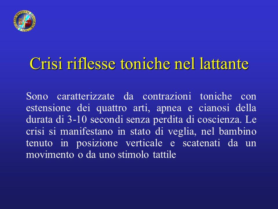 Crisi riflesse toniche nel lattante Sono caratterizzate da contrazioni toniche con estensione dei quattro arti, apnea e cianosi della durata di 3-10 s