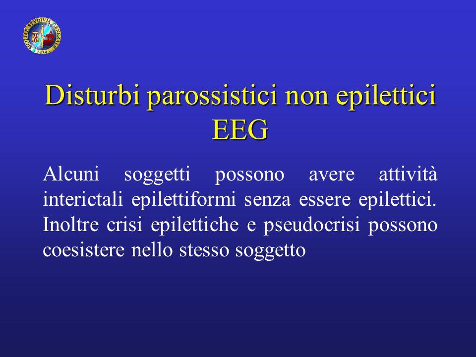 Disturbi parossistici non epilettici EEG Alcuni soggetti possono avere attività interictali epilettiformi senza essere epilettici. Inoltre crisi epile