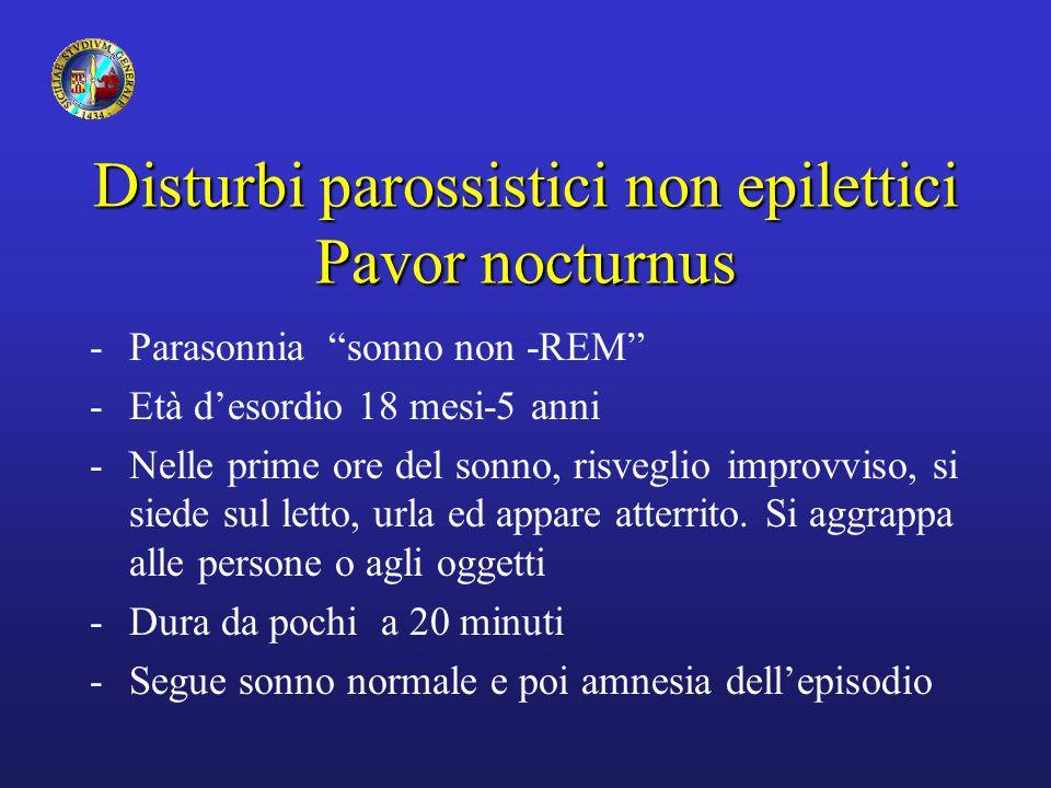 """Disturbi parossistici non epilettici Pavor nocturnus -Parasonnia """"sonno non -REM"""" -Età d'esordio 18 mesi-5 anni -Nelle prime ore del sonno, risveglio"""