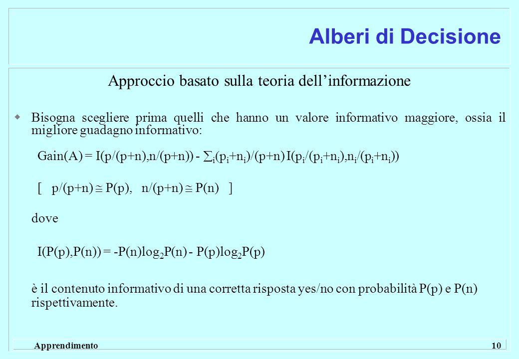 Apprendimento 10 Alberi di Decisione Approccio basato sulla teoria dell'informazione  Bisogna scegliere prima quelli che hanno un valore informativo maggiore, ossia il migliore guadagno informativo: Gain(A) = I(p/(p+n),n/(p+n)) -  i  p i +n i )/(p+n) I(p i /(p i +n i ),n i /(p i +n i )) [ p/(p+n)  P(p), n/(p+n)  P(n) ] dove I(P(p),P(n)) = -P(n)log 2 P(n) - P(p)log 2 P(p) è il contenuto informativo di una corretta risposta yes/no con probabilità P(p) e P(n) rispettivamente.