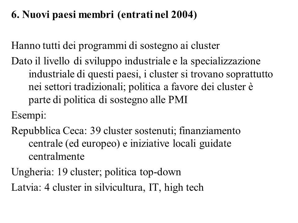 6. Nuovi paesi membri (entrati nel 2004) Hanno tutti dei programmi di sostegno ai cluster Dato il livello di sviluppo industriale e la specializzazion