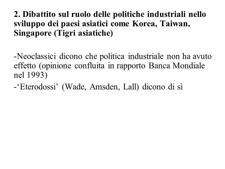 2. Dibattito sul ruolo delle politiche industriali nello sviluppo dei paesi asiatici come Korea, Taiwan, Singapore (Tigri asiatiche) -Neoclassici dico