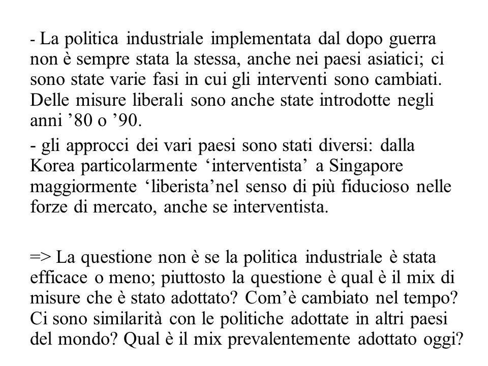 - La politica industriale implementata dal dopo guerra non è sempre stata la stessa, anche nei paesi asiatici; ci sono state varie fasi in cui gli interventi sono cambiati.