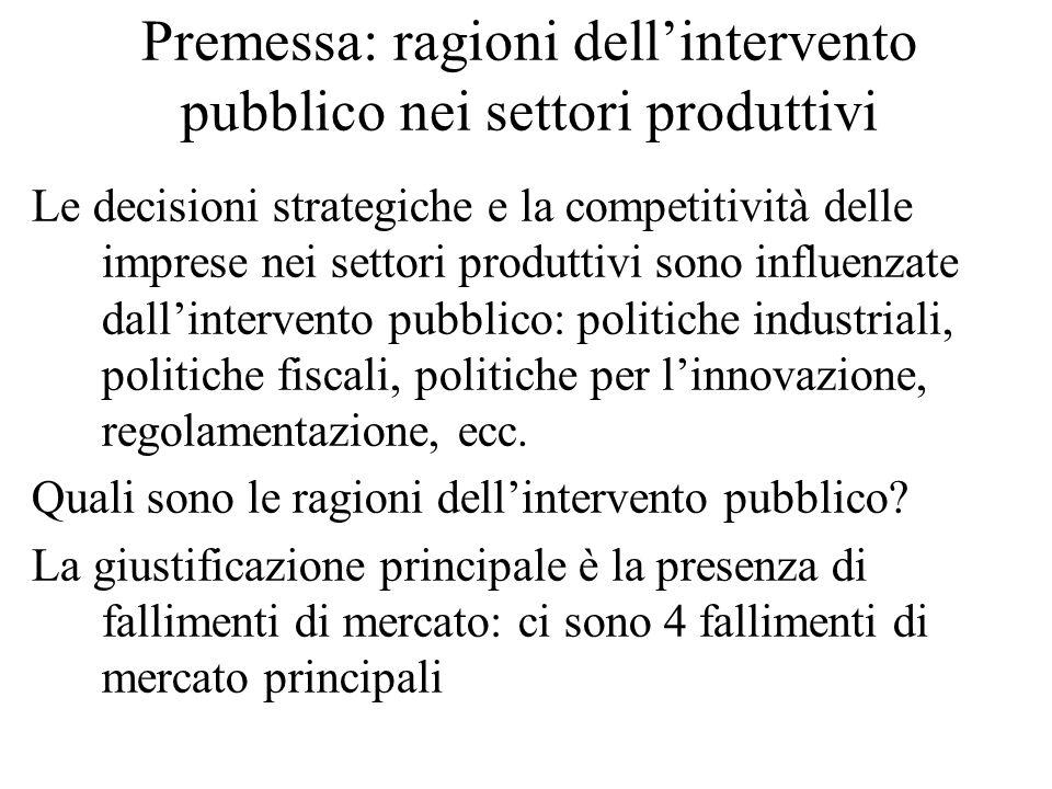 Premessa: ragioni dell'intervento pubblico nei settori produttivi Le decisioni strategiche e la competitività delle imprese nei settori produttivi sono influenzate dall'intervento pubblico: politiche industriali, politiche fiscali, politiche per l'innovazione, regolamentazione, ecc.