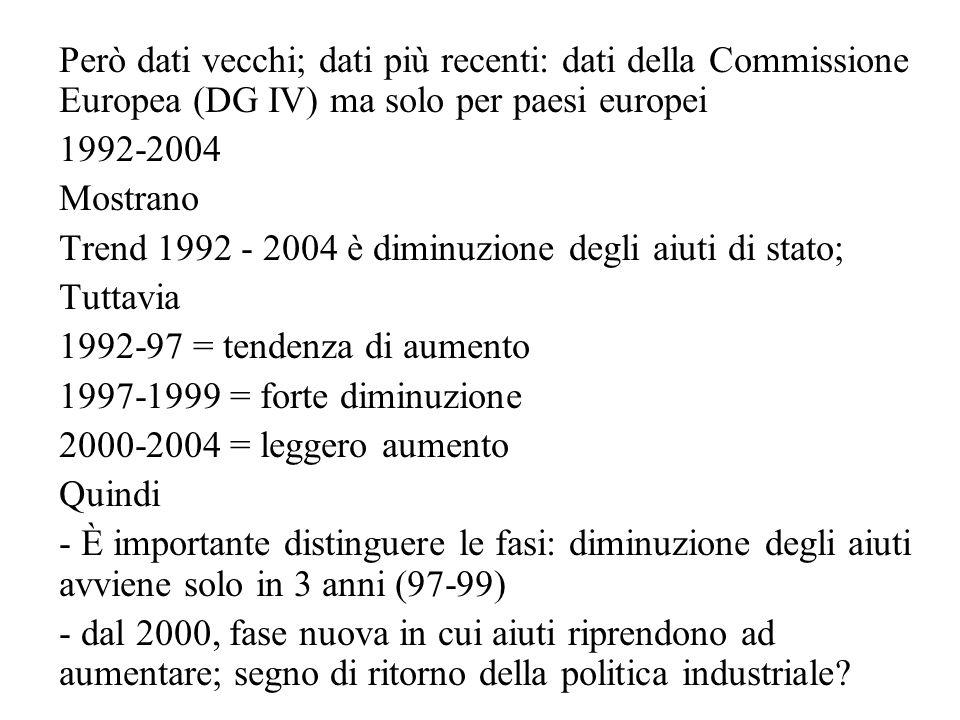 Però dati vecchi; dati più recenti: dati della Commissione Europea (DG IV) ma solo per paesi europei 1992-2004 Mostrano Trend 1992 - 2004 è diminuzione degli aiuti di stato; Tuttavia 1992-97 = tendenza di aumento 1997-1999 = forte diminuzione 2000-2004 = leggero aumento Quindi - È importante distinguere le fasi: diminuzione degli aiuti avviene solo in 3 anni (97-99) - dal 2000, fase nuova in cui aiuti riprendono ad aumentare; segno di ritorno della politica industriale