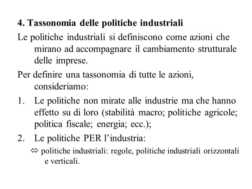 4. Tassonomia delle politiche industriali Le politiche industriali si definiscono come azioni che mirano ad accompagnare il cambiamento strutturale de