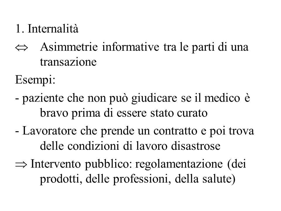 1. Internalità  Asimmetrie informative tra le parti di una transazione Esempi: - paziente che non può giudicare se il medico è bravo prima di essere
