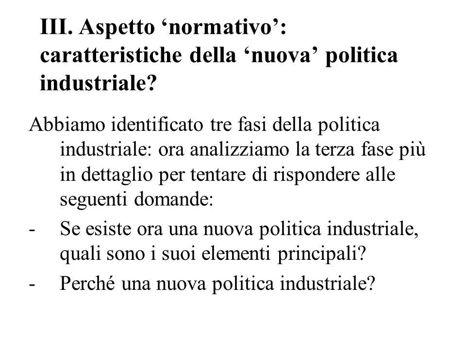 III. Aspetto 'normativo': caratteristiche della 'nuova' politica industriale.