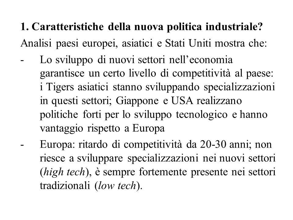 1. Caratteristiche della nuova politica industriale.