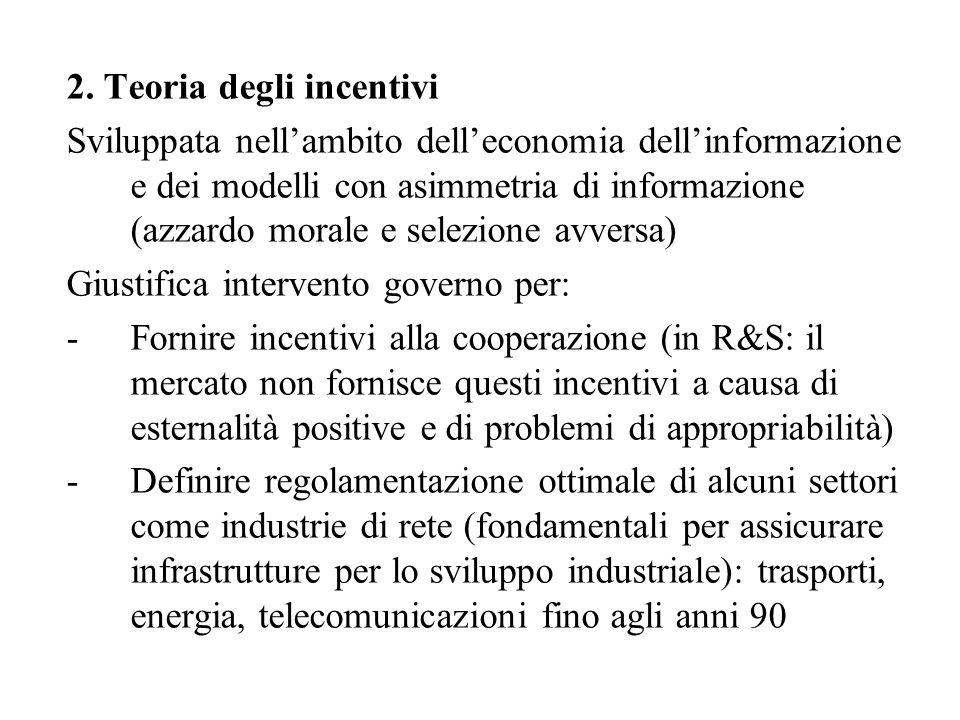 2. Teoria degli incentivi Sviluppata nell'ambito dell'economia dell'informazione e dei modelli con asimmetria di informazione (azzardo morale e selezi