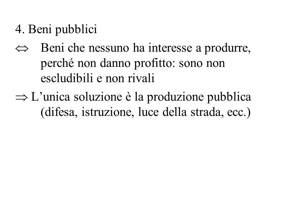 4. Beni pubblici  Beni che nessuno ha interesse a produrre, perché non danno profitto: sono non escludibili e non rivali  L'unica soluzione è la pro