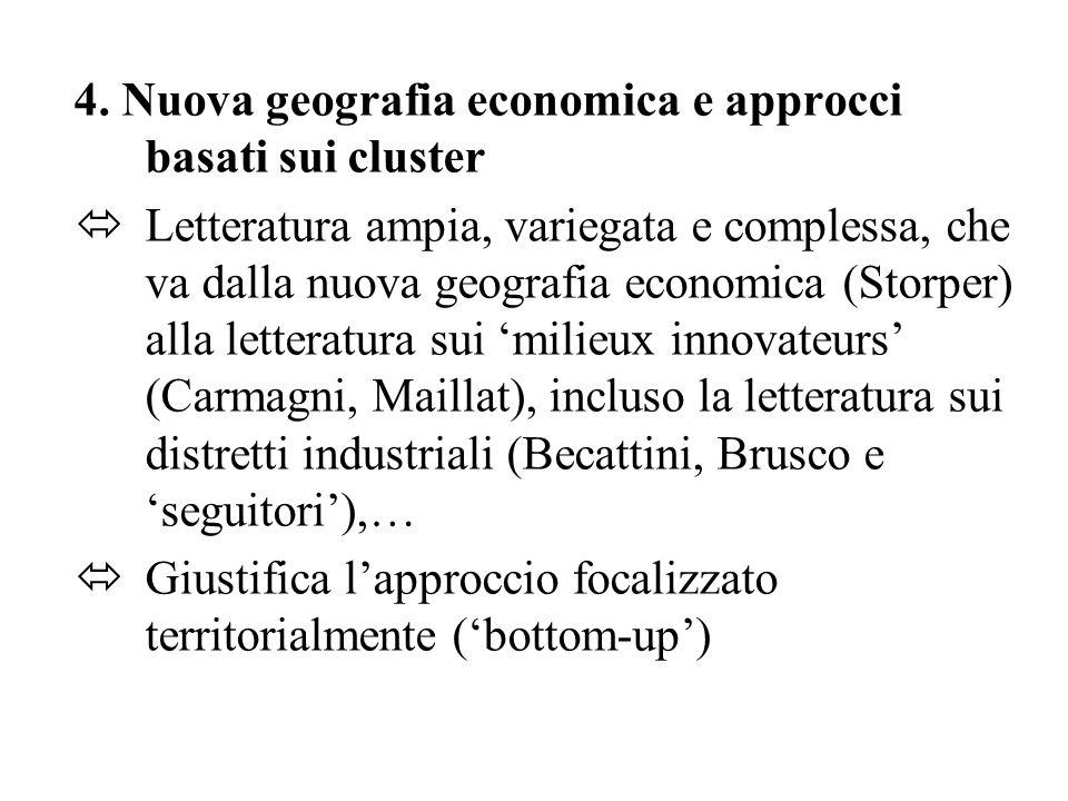 4. Nuova geografia economica e approcci basati sui cluster  Letteratura ampia, variegata e complessa, che va dalla nuova geografia economica (Storper