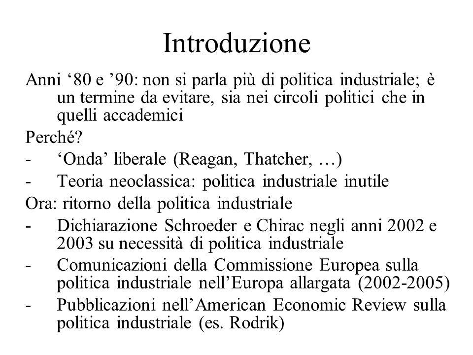 Introduzione Anni '80 e '90: non si parla più di politica industriale; è un termine da evitare, sia nei circoli politici che in quelli accademici Perché.