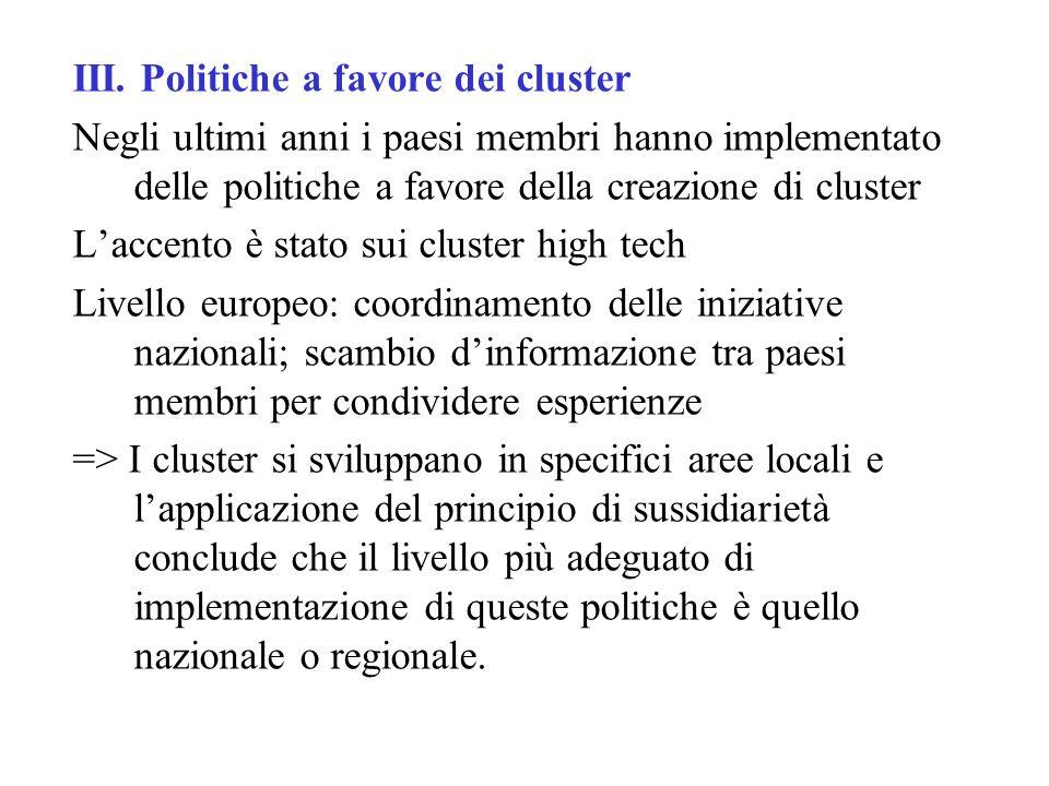 III. Politiche a favore dei cluster Negli ultimi anni i paesi membri hanno implementato delle politiche a favore della creazione di cluster L'accento