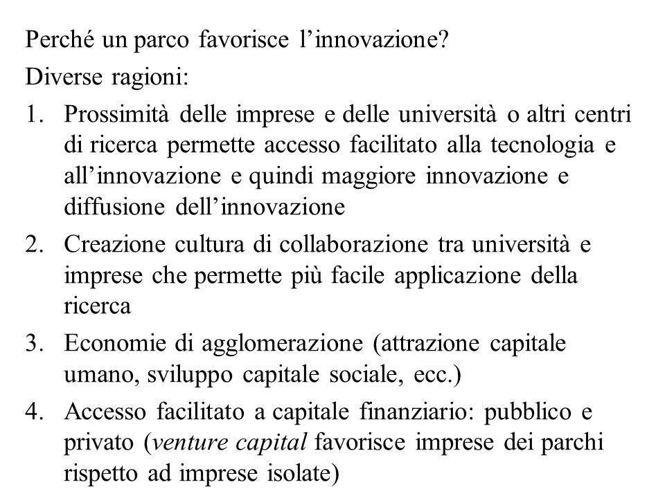 Perché un parco favorisce l'innovazione.