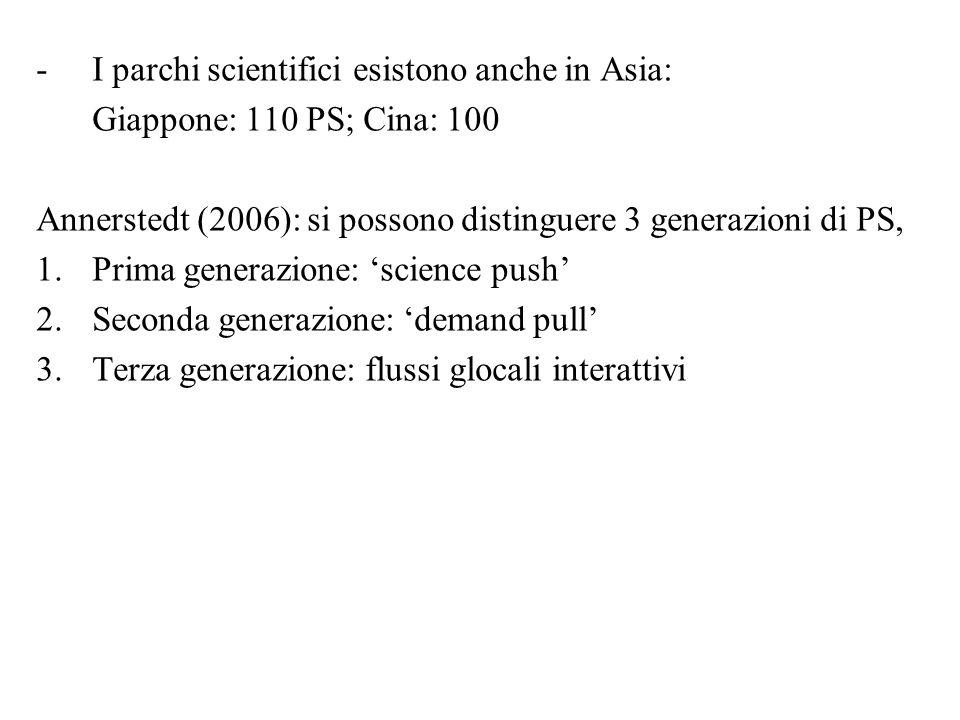 -I parchi scientifici esistono anche in Asia: Giappone: 110 PS; Cina: 100 Annerstedt (2006): si possono distinguere 3 generazioni di PS, 1.Prima generazione: 'science push' 2.Seconda generazione: 'demand pull' 3.Terza generazione: flussi glocali interattivi