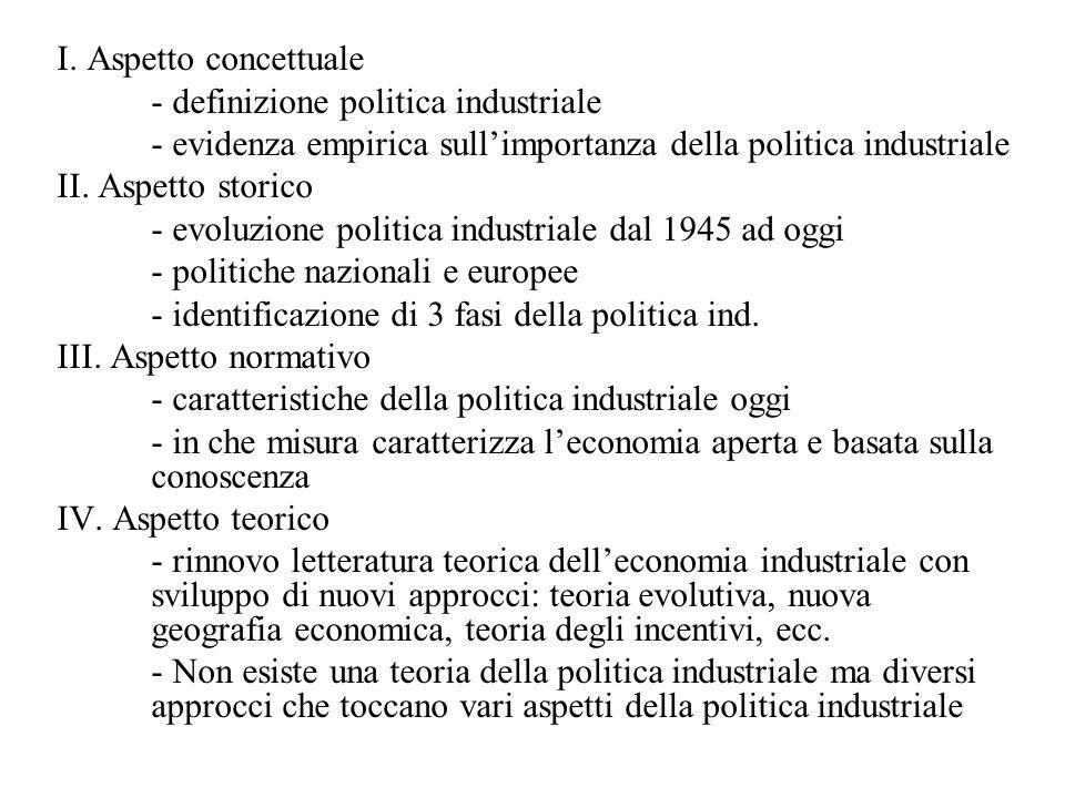 I. Aspetto concettuale - definizione politica industriale - evidenza empirica sull'importanza della politica industriale II. Aspetto storico - evoluzi