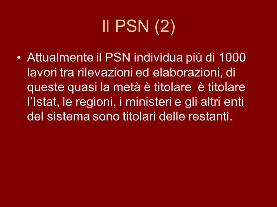 Il PSN (2) Attualmente il PSN individua più di 1000 lavori tra rilevazioni ed elaborazioni, di queste quasi la metà è titolare è titolare l'Istat, le regioni, i ministeri e gli altri enti del sistema sono titolari delle restanti.