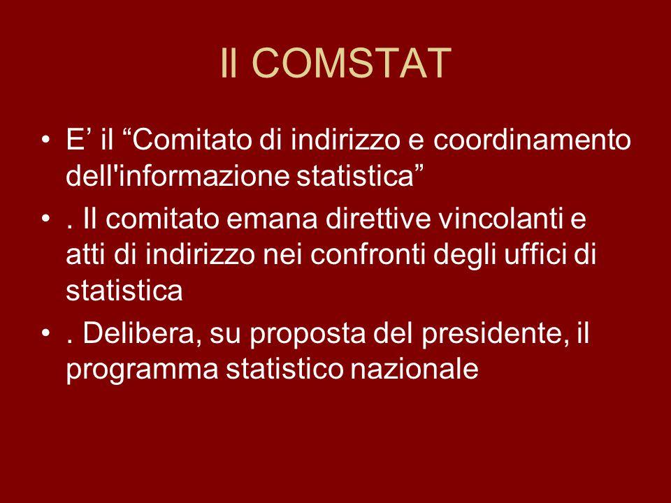 Il COMSTAT E' il Comitato di indirizzo e coordinamento dell informazione statistica .