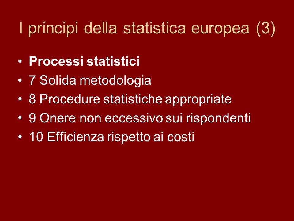 I principi della statistica europea (3) Processi statistici 7 Solida metodologia 8 Procedure statistiche appropriate 9 Onere non eccessivo sui rispondenti 10 Efficienza rispetto ai costi
