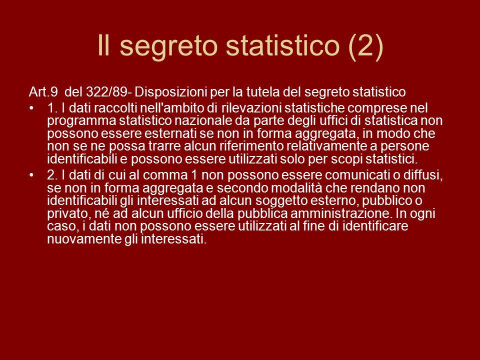 Il segreto statistico (2) Art.9 del 322/89- Disposizioni per la tutela del segreto statistico 1.