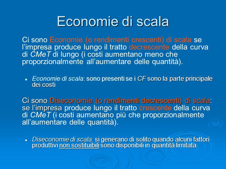 Economie di scala Ci sono Economie (o rendimenti crescenti) di scala se l'impresa produce lungo il tratto decrescente della curva di CMeT di lungo (i