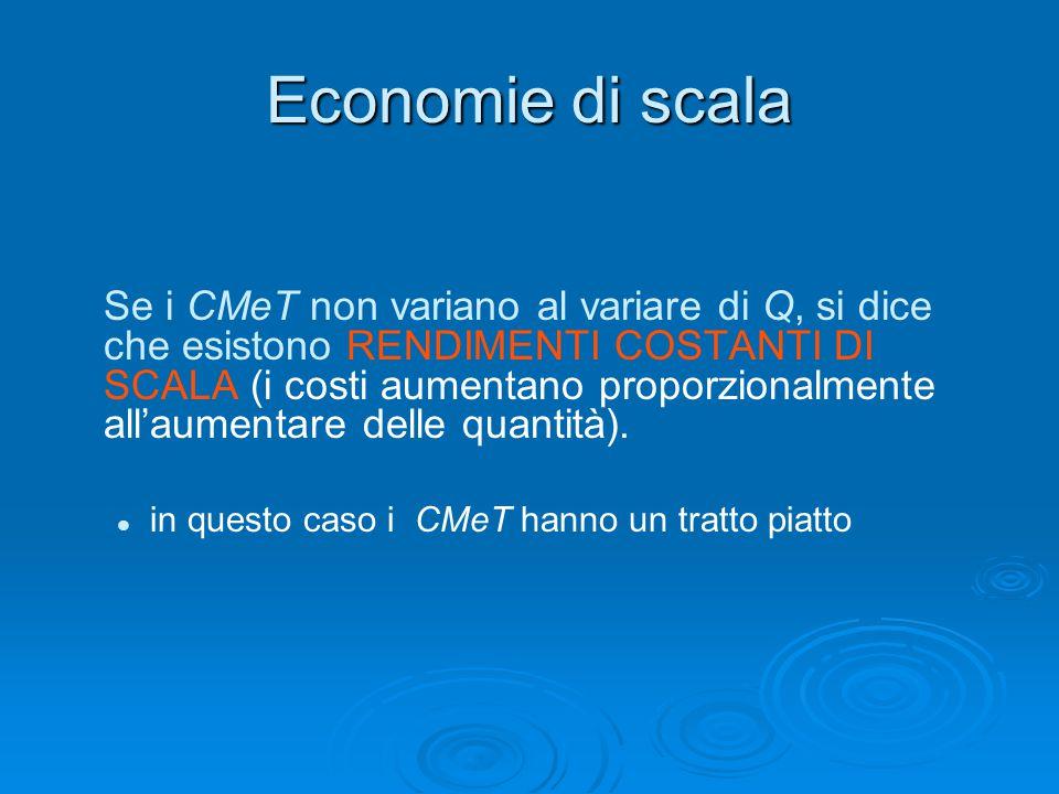 Economie di scala Se i CMeT non variano al variare di Q, si dice che esistono RENDIMENTI COSTANTI DI SCALA (i costi aumentano proporzionalmente all'au
