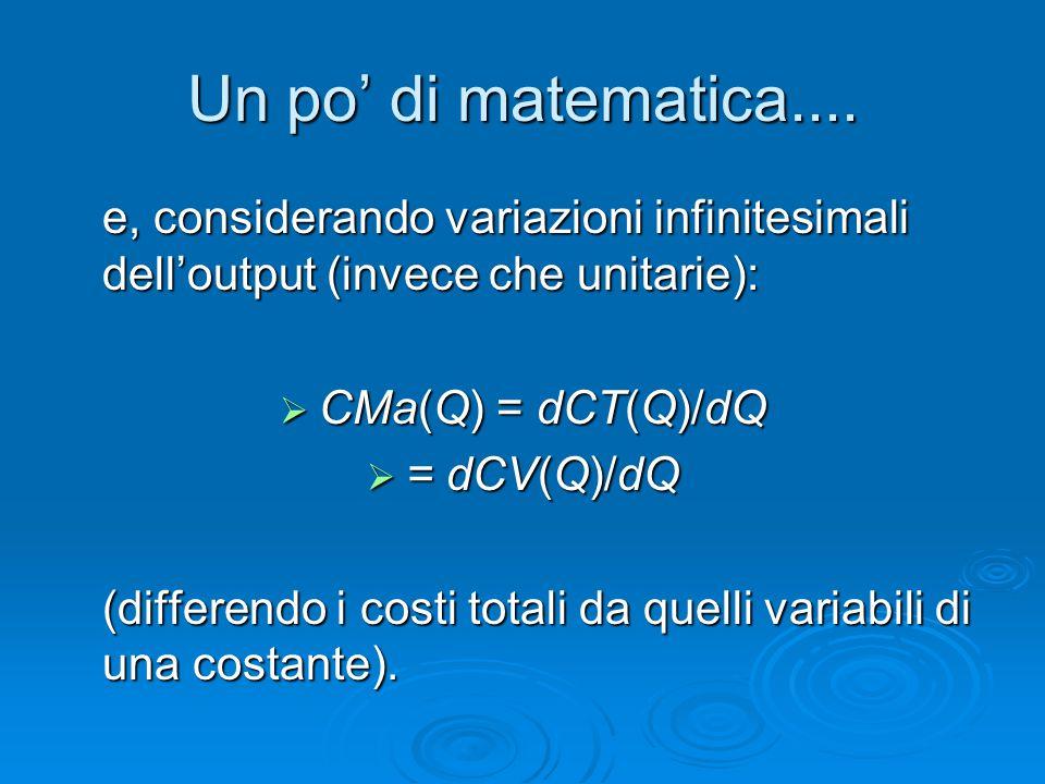 Un po' di matematica.... e, considerando variazioni infinitesimali dell'output (invece che unitarie):  CMa(Q) = dCT(Q)/dQ  = dCV(Q)/dQ (differendo i
