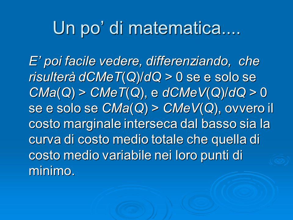 Un po' di matematica.... E' poi facile vedere, differenziando, che risulterà dCMeT(Q)/dQ > 0 se e solo se CMa(Q) > CMeT(Q), e dCMeV(Q)/dQ > 0 se e sol
