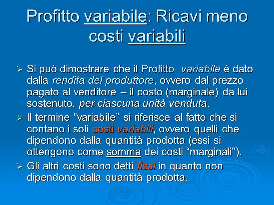 Profitto variabile: Ricavi meno costi variabili  Si può dimostrare che il Profitto variabile è dato dalla rendita del produttore, ovvero dal prezzo p