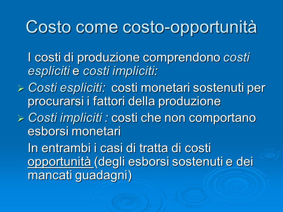 Costo come costo-opportunità I costi di produzione comprendono costi espliciti e costi impliciti:  Costi espliciti: costi monetari sostenuti per proc