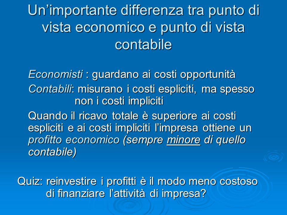 Un'importante differenza tra punto di vista economico e punto di vista contabile Economisti : guardano ai costi opportunità Contabili: misurano i cost