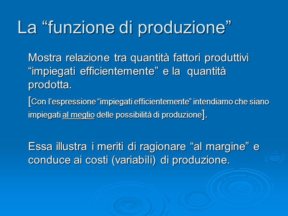 """La """"funzione di produzione"""" Mostra relazione tra quantità fattori produttivi """"impiegati efficientemente"""" e la quantità prodotta. [ Con l'espressione """""""