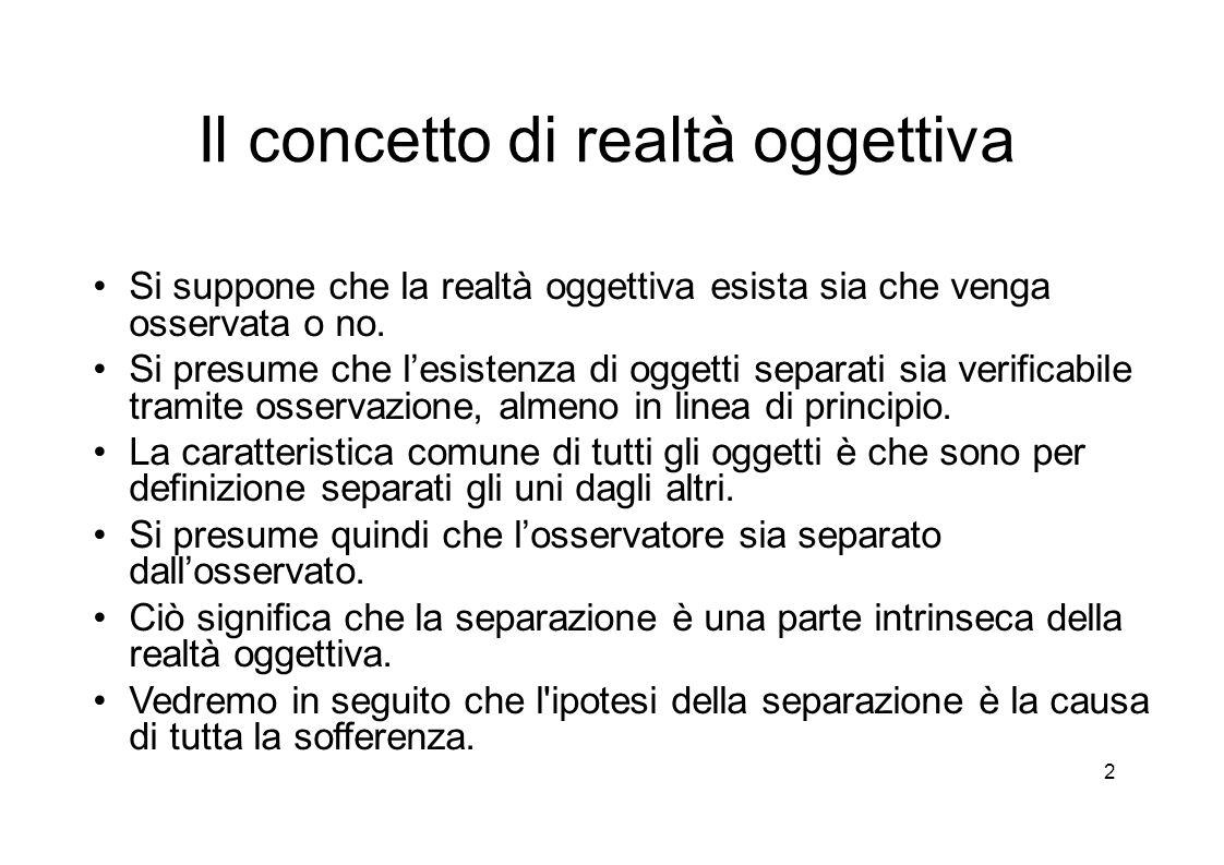 2 Il concetto di realtà oggettiva Si suppone che la realtà oggettiva esista sia che venga osservata o no.