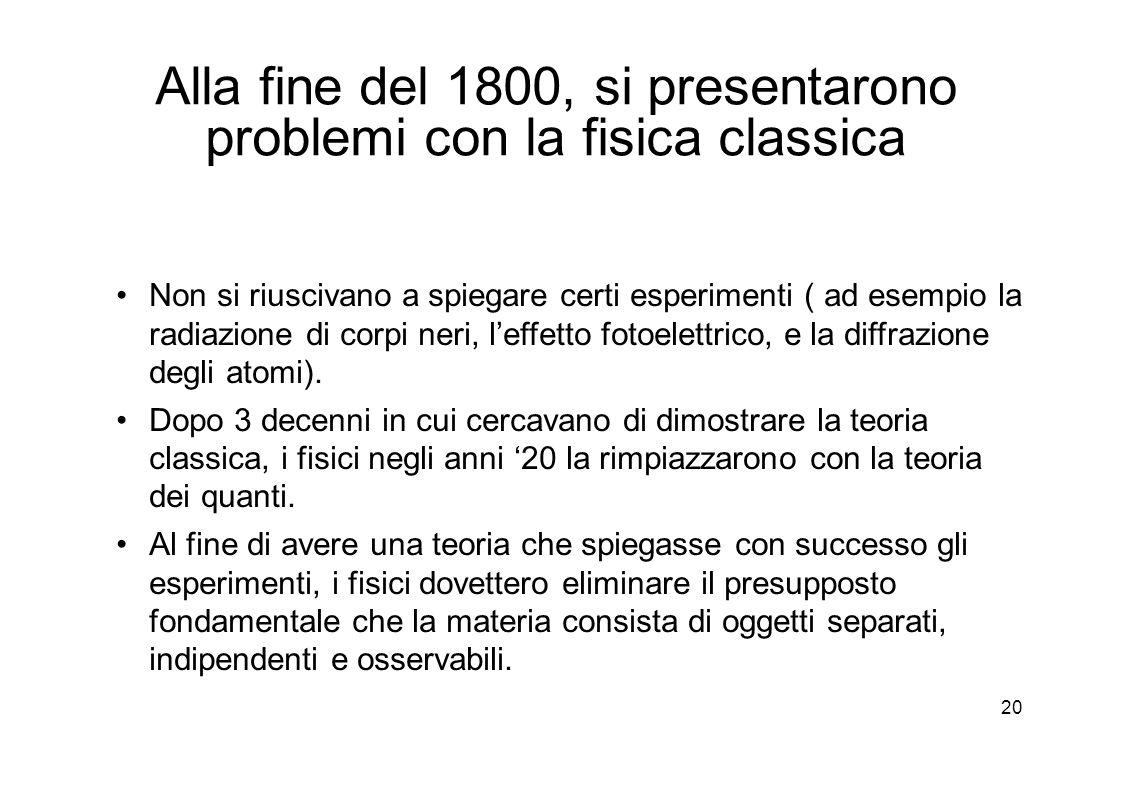 20 Alla fine del 1800, si presentarono problemi con la fisica classica Non si riuscivano a spiegare certi esperimenti ( ad esempio la radiazione di corpi neri, l'effetto fotoelettrico, e la diffrazione degli atomi).