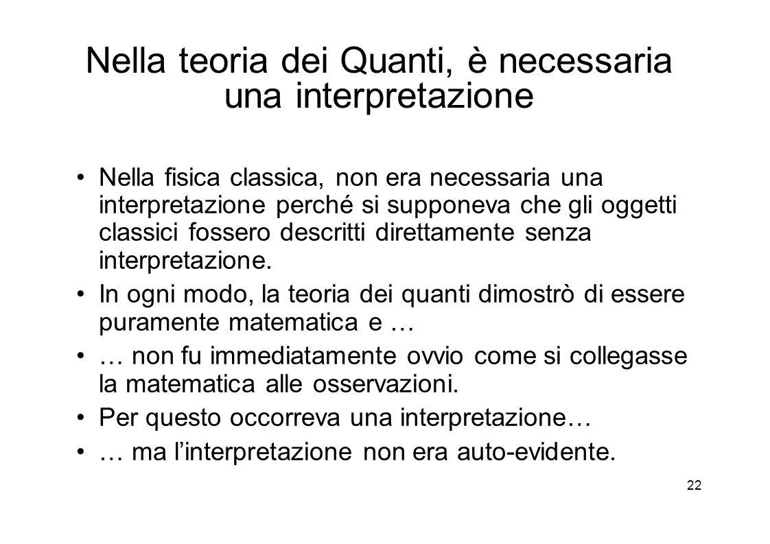 22 Nella teoria dei Quanti, è necessaria una interpretazione Nella fisica classica, non era necessaria una interpretazione perché si supponeva che gli oggetti classici fossero descritti direttamente senza interpretazione.
