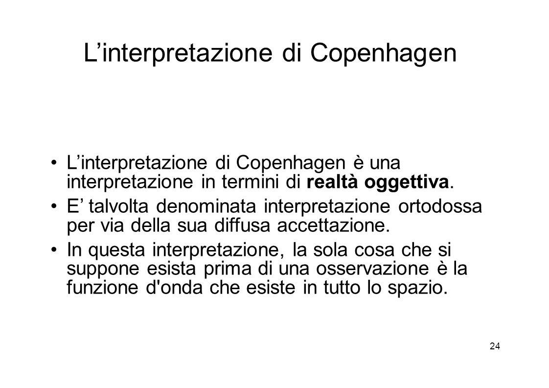 24 L'interpretazione di Copenhagen L'interpretazione di Copenhagen è una interpretazione in termini di realtà oggettiva.