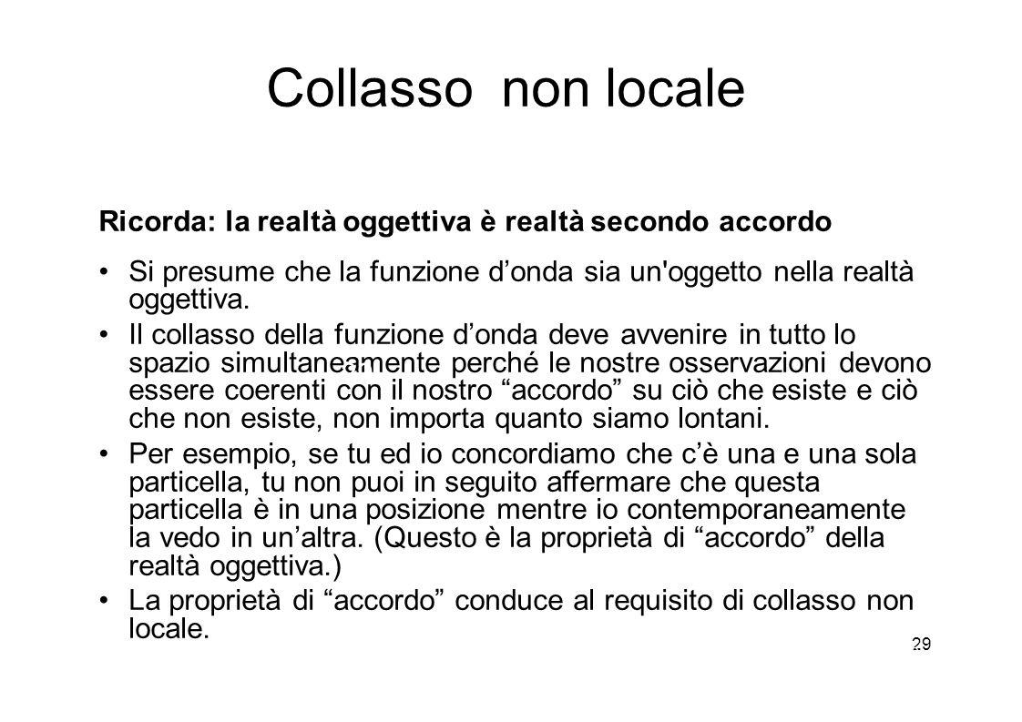 29 Collasso non locale Ricorda: la realtà oggettiva è realtà secondo accordo Si presume che la funzione d'onda sia un oggetto nella realtà oggettiva.