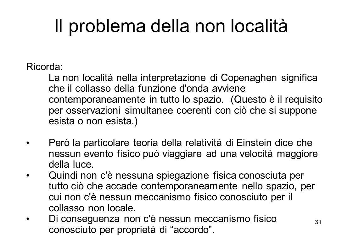 31 Il problema della non località Ricorda: La non località nella interpretazione di Copenaghen significa che il collasso della funzione d onda avviene contemporaneamente in tutto lo spazio.