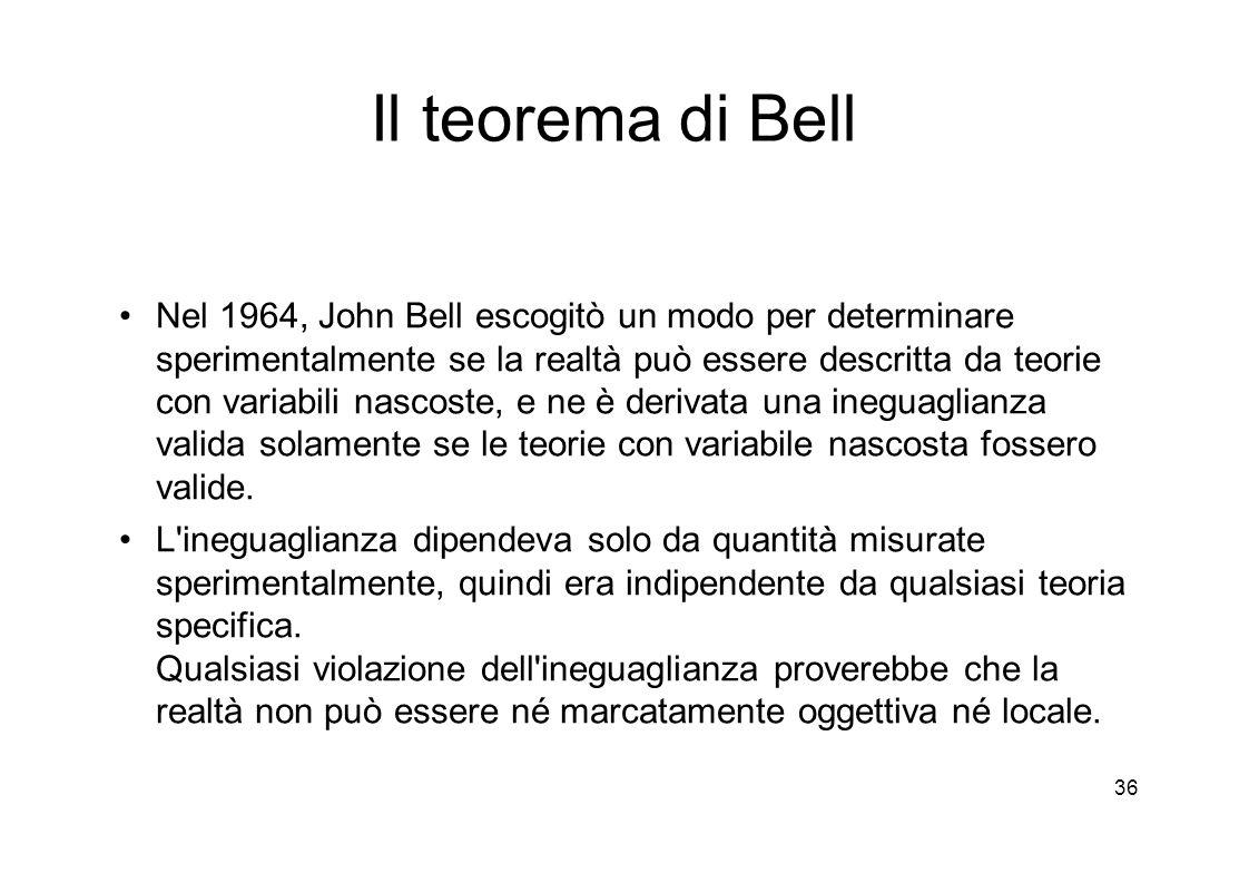 36 Il teorema di Bell Nel 1964, John Bell escogitò un modo per determinare sperimentalmente se la realtà può essere descritta da teorie con variabili nascoste, e ne è derivata una ineguaglianza valida solamente se le teorie con variabile nascosta fossero valide.