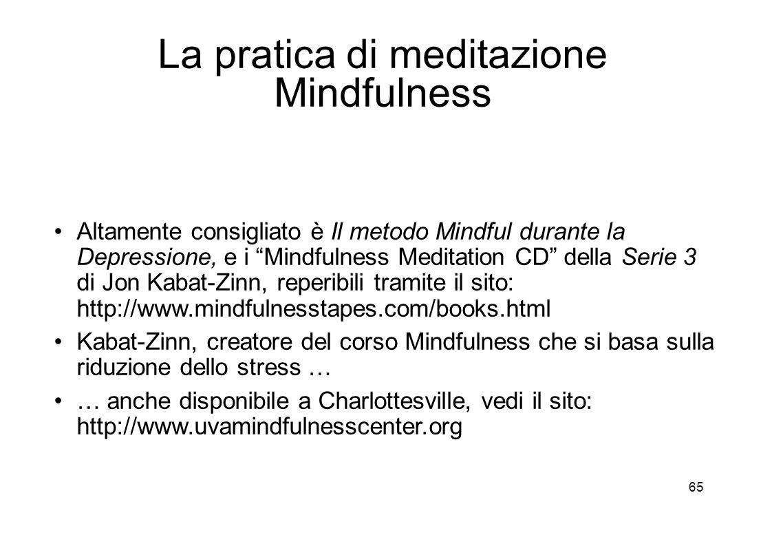 65 La pratica di meditazione Mindfulness Altamente consigliato è Il metodo Mindful durante la Depressione, e i Mindfulness Meditation CD della Serie 3 di Jon Kabat-Zinn, reperibili tramite il sito: http://www.mindfulnesstapes.com/books.html Kabat-Zinn, creatore del corso Mindfulness che si basa sulla riduzione dello stress … … anche disponibile a Charlottesville, vedi il sito: http://www.uvamindfulnesscenter.org
